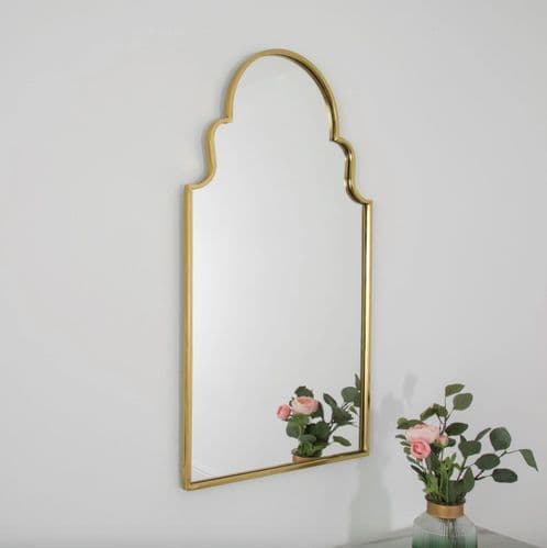 MODERN ROMAN STYLE GOLD METAL WALL HANGING ARCHED MIRROR 90cm